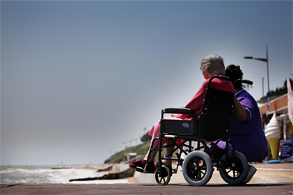 Care home residential resident at Clacton on Sea front.